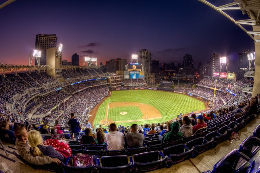 Fans enjoy a night game at Petco Park, home of the San Diego Padres.